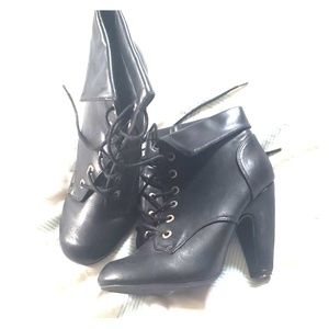 Bamboo brand, black leather boot heels